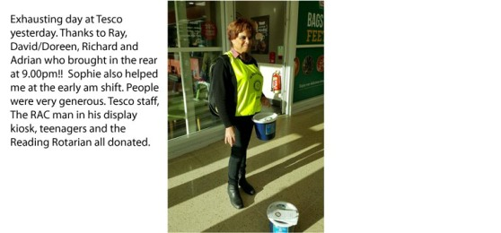 Hard collecting funds for charity these days Tesco were very helpful