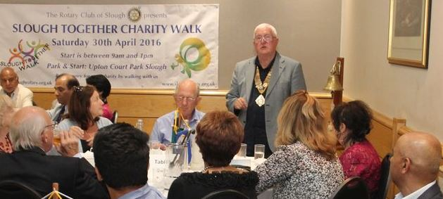 President Terry presents the Slough Together Walk winners prizes